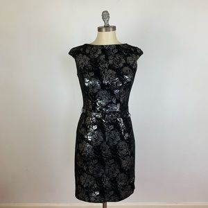 Tadashi Collection Metallic Silver Flower Dress